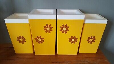 4 Nally Canisters Yellow Daisy Large 2.2L and 3.2L Retro 1970's
