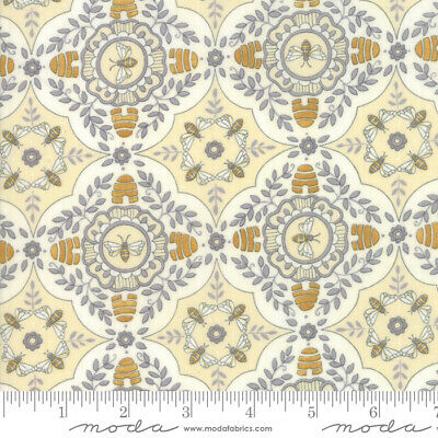 By 1//2 Yard ~ Moda Fabric Kate Spain Early Bird Plume Honey Geometric Clamshells
