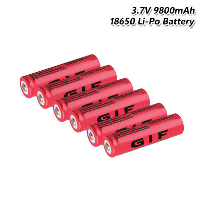 18650 Battery Rechargeable 3.7V 9800mAh Li-ion Cell For Headlamp Torch 6Pcs A49