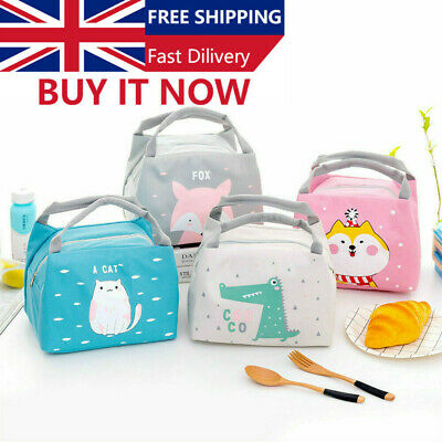 Cartoon Lunch Bag Kids Thermal Insulated Lunch Box Tote Portable Picnic Bag New