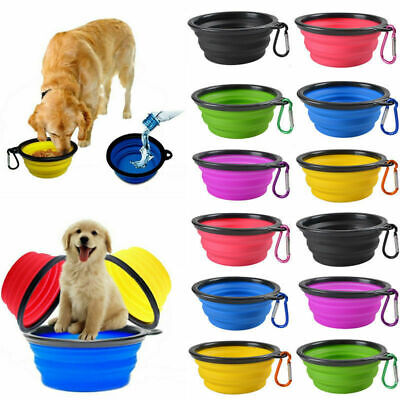1/2x Collapsible Pet Dog Feeding Bowl Pop Up Compact Travel Silicone Dish Feeder