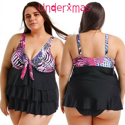 Plus Size Womens Ruffle Hem Tankini Set Bikini Bathing Suit Swimsuit  Beachwear