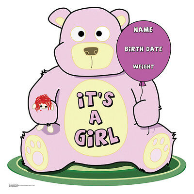 IT'S A GIRL Baby Teddy Bear CARDBOARD CUTOUT Standup Standee Poster Baby Shower