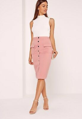 d15f6d7680 BNWT Missguided Midi Skirt Size 10 Pink High Waisted Textured Button Up  Popper