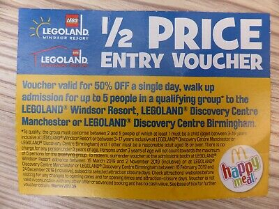 Legoland 1/2 Half Price 50% Entry Voucher for up to 5 People up to 2nd Nov 2019
