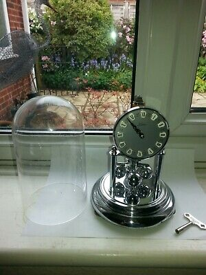 Vintage Kein 400 Day Mechanical Wind Anniversary Dome Mantel Clock (Chrome)