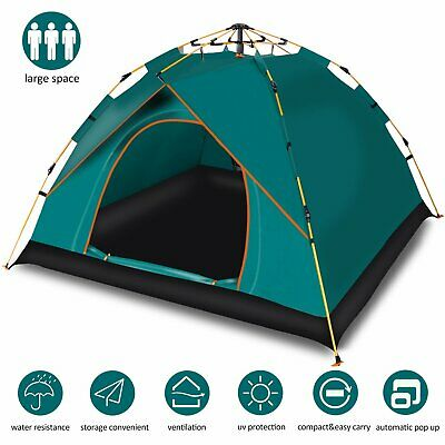 Instant Auto Pop Up Large Camping Tent Outdoor 3 Man Shelter Double Layer Green
