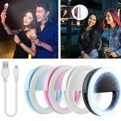 Rechargeable Selfie Light LED Ring Flash Clip Camera For iPhone Samsung Huwawei