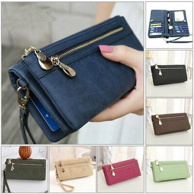 Women Lady Leather Wallet Long Zip Purse Card Holder Case Phone Clutch Handbag A