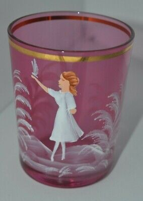 Vintage Hand Painted Mary Gregory Drinking Glasses Girl Cranberry Red Glass