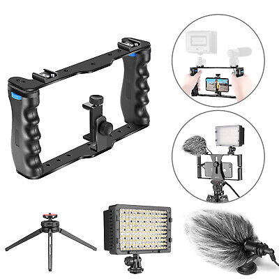Smartphone Video Rig & CM14 Video Microphone & LED Video Light Lamp for Canon