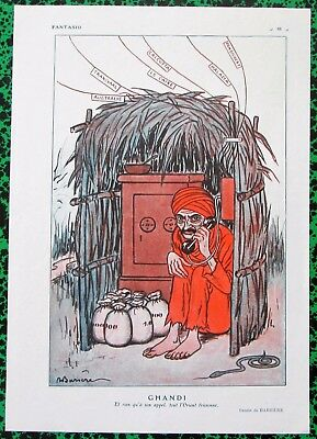 RARE Original 1928 Vintage French Art Print MAHATMA GANDHI CARICATURE by Barrere