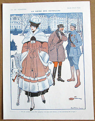 NEVIL Original Vintage 1916 Vie Parisienne Print WW1 SOLDIERS GIRL & BORZOI DOG