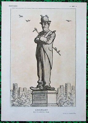 VERY RARE Original 1920 Vintage French Art Print CHARLIE CHAPLIN by Barrere