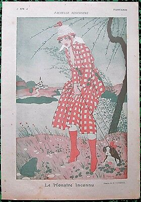 LORENZI Original 1916 French Vintage Art Print CHIC GIRL & PUPPY SCARED OF FROG