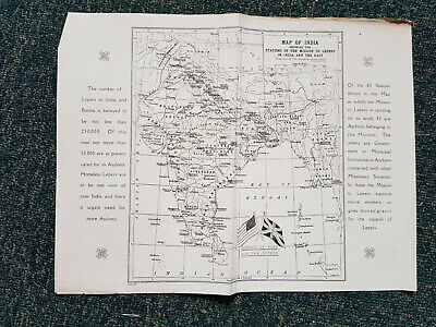 MAP OF INDIA SHOWING STATIONS OF THE MISSION TO LEPERS - circa 1900