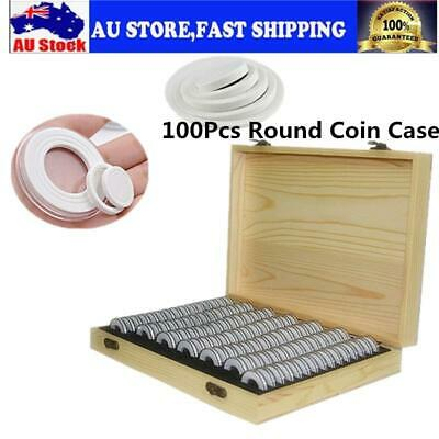 100Pcs Round Coin Case Capsule Container Holder Storage Box For 18/21/25/27/30mm
