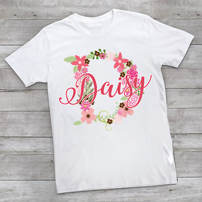 Personalised Ditsy Flower Name & Initial Children's Kids T Shirts T-Shirt Top