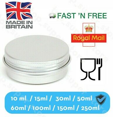 100 X Silver Round Aluminium Tin Container EPE Lined Screw Food Cosmetic SIZES
