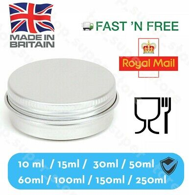 Silver Round Aluminium Tin Container EPE Lined Screw Food Cosmetic VARIOUS SIZES