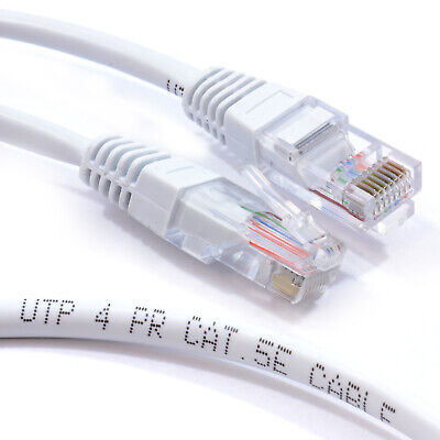30m White Network Ethernet RJ45 Cat5E-CCA UTP PATCH 26AWG Cable Lead