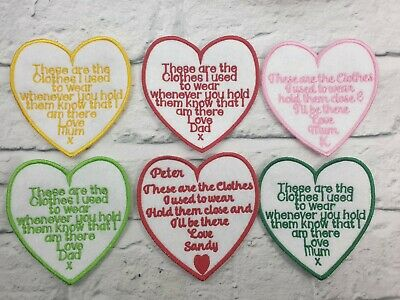 6 x Personalised Heart shaped memory cushion patches ,embroidered,memory Bear,