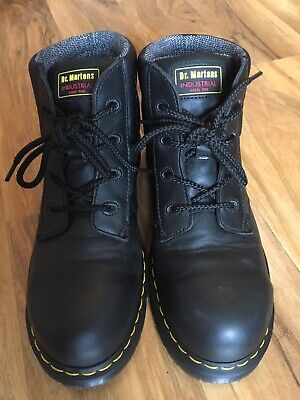 Dr Martens Doc DMs Industrial Steel Toe Black Air Cushion Boots Size UK 10
