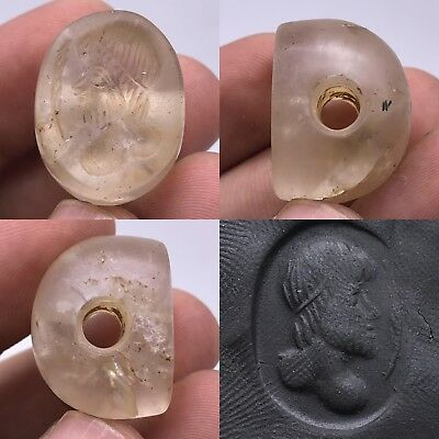 amazing Crystal Intaglio Very Old Stone Roman Face Seal Lovely  Bead