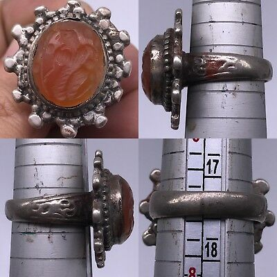 Medieval Agate Antique Intaglio Stone Silver Wonderful Ring