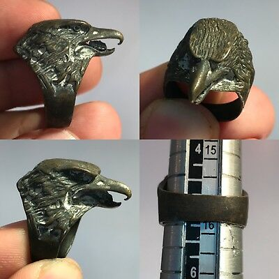 Antique Rare Wonderful Falcon Bronze Ring