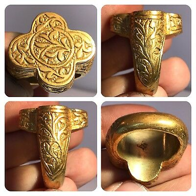Medieval Antique Gold gilding Wonderful  Unique Ring