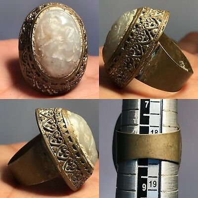 Medieval Old Rare Unique Agate stone Bronze Stunning Ring