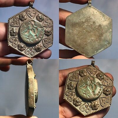 Antique lovely Bronze stone Emperor wonderful pendant