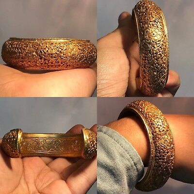 Wonderful Old Antique  Lovely Brass Gold Gilding Bangle