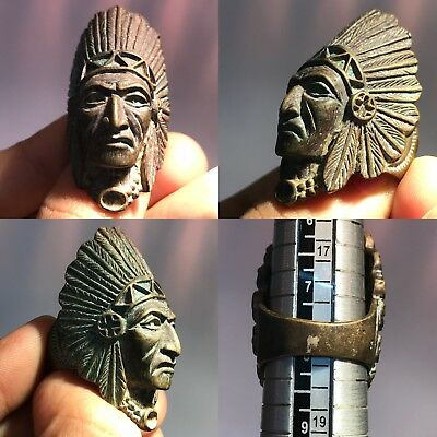 Old Wonderful Bronze Unique king Head face amazing Ring