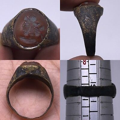Roman Old King face wonderful intaglio stone Unique bronze Ring
