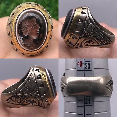 Medieval Old Wonderful Face intaglio Stone Silver Rare lovely Ring