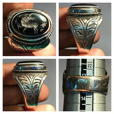 Rare Old Silver Wonderful Unique Ring with Agate stone ring