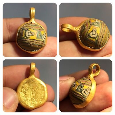 Antique Gold Gilding  Wonderful  Old Pendant Glass With Face