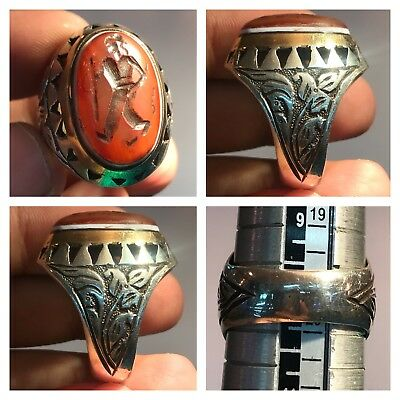Medieval Agate old intaglio Stone intaglio Silver  lovely Ring