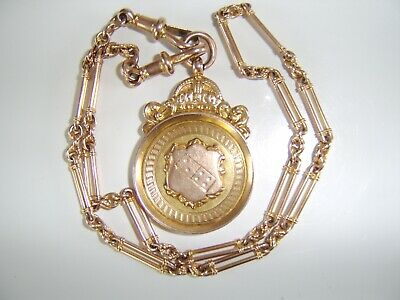 Victorian Antique 9Ct Gold Albert Chain Dominoes Medal Albertina 4 Pocket Watch