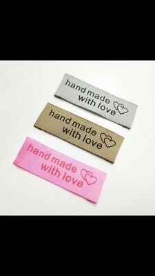 "20 Quality Fabric sew on clothes labels ""Handmade With Love"" Brown"