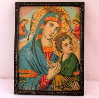 ANTIQUE  Russian Orthodox Icon Print  of Virgin Mary MIK1