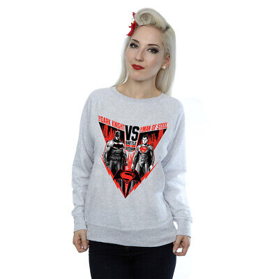 DC Comics Women's Batman v Superman Battle Sweatshirt Grey Official Licensed