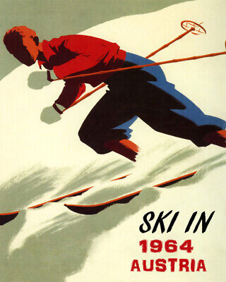 POSTER COLORADO SKI WINTER SPORTS DOWNHILL SKIING USA VINTAGE REPRO FREE S//H