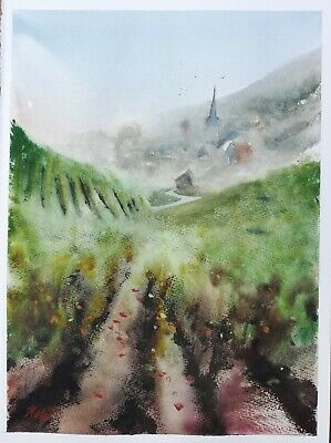 R Mee Fine Art Original Watercolour Painting French vineyard France Landscape