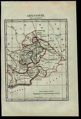 Africa Red Sea Abyssinia Nile river source 1837 Tardieu Perrot miniature map