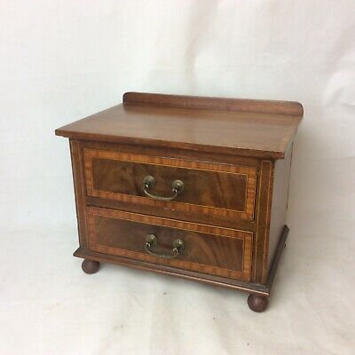 A Fine Antique Inlaid Mahogany Miniature Table / Collectors Chest
