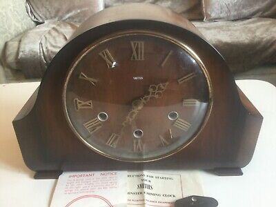 Vintage smiths Westminster chime mantle clock working with key & instructions