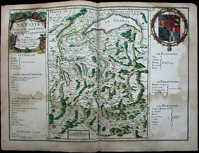 Switzerland Savoy Geneva France Piedmont 1677 du Val rare folio decorative map